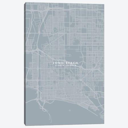 Long Beach City Map Grey Blue Style Canvas Print #WDA1765} by WallDecorAddict Canvas Artwork
