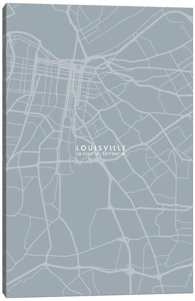 Louisville City Map Grey Blue Style Canvas Art Print