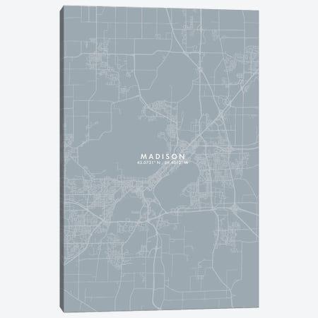 Madison City Map Grey Blue Style Canvas Print #WDA1767} by WallDecorAddict Canvas Art