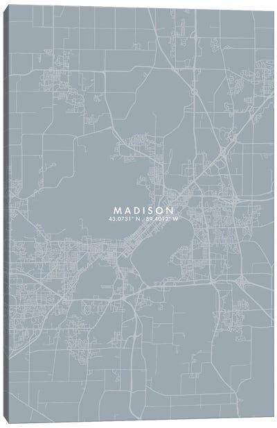 Madison City Map Grey Blue Style Canvas Art Print