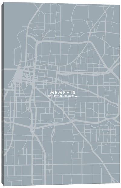 Memphis City Map Grey Blue Style Canvas Art Print