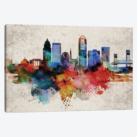 Jacksonville Abstract Canvas Print #WDA176} by WallDecorAddict Canvas Artwork