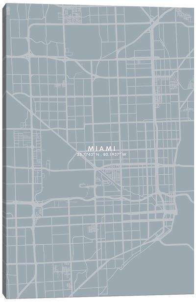 Miami City Map Grey Blue Style Canvas Art Print