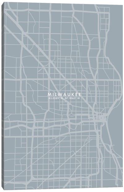 Milwaukee City Map Grey Blue Style Canvas Art Print