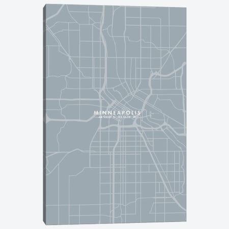 Minneapolis City Map Grey Blue Style Canvas Print #WDA1772} by WallDecorAddict Canvas Artwork