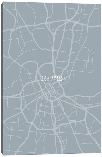 Nashville City Map Grey Blue Style Canvas Art Print