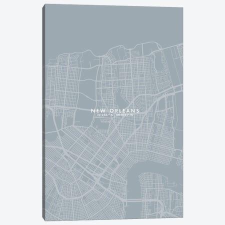 New Orleans City Map Grey Blue Style Canvas Print #WDA1775} by WallDecorAddict Art Print