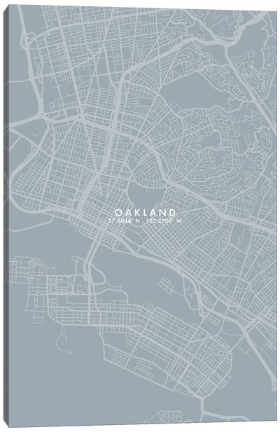 Oakland, California City Map Grey Blue Style Canvas Art Print