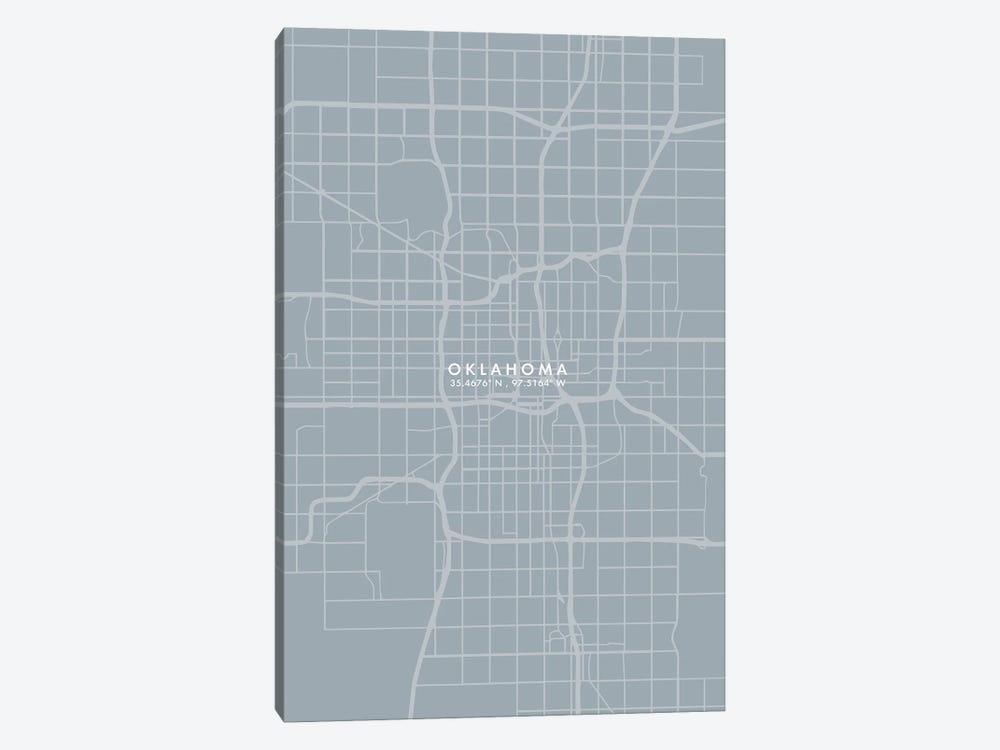 Oklahoma City Map Grey Blue Style by WallDecorAddict 1-piece Canvas Art Print