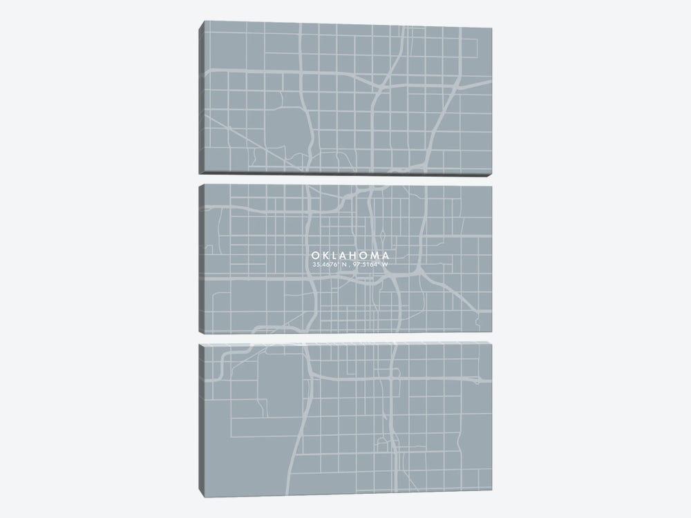 Oklahoma City Map Grey Blue Style by WallDecorAddict 3-piece Canvas Print