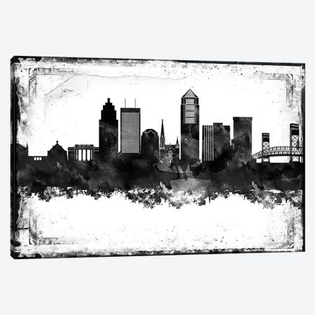 Jacksonville Black And White Framed Skylines Canvas Print #WDA177} by WallDecorAddict Canvas Artwork