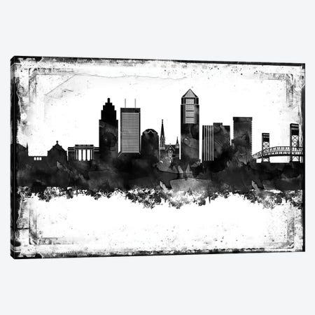 Jacksonville Black And White Framed Skylines Canvas Print #WDA177} by WallDecorAddict Canvas Artwork