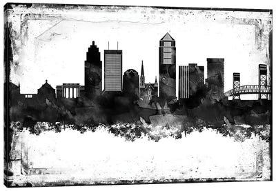Jacksonville Black And White Framed Skylines Canvas Art Print