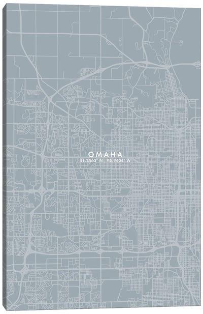 Omaha City Map Grey Blue Style Canvas Art Print