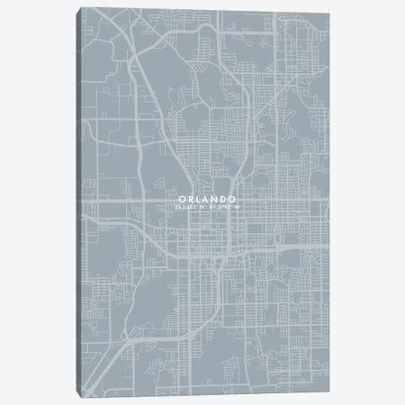 Orlando City Map Grey Blue Style Canvas Print #WDA1781} by WallDecorAddict Art Print
