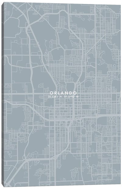 Orlando City Map Grey Blue Style Canvas Art Print