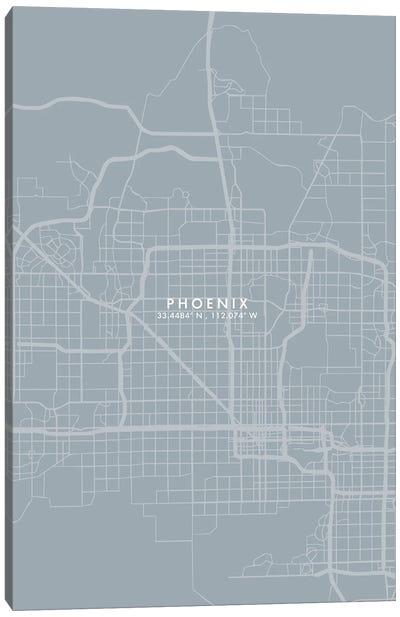 Phoenix City Map Grey Blue Style Canvas Art Print