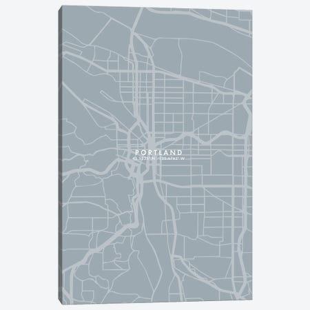 Portland City Map Grey Blue Style Canvas Print #WDA1785} by WallDecorAddict Canvas Art