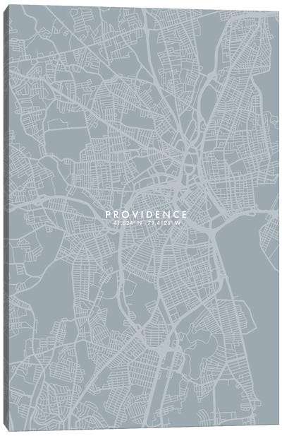 Providence City Map Grey Blue Style Canvas Art Print
