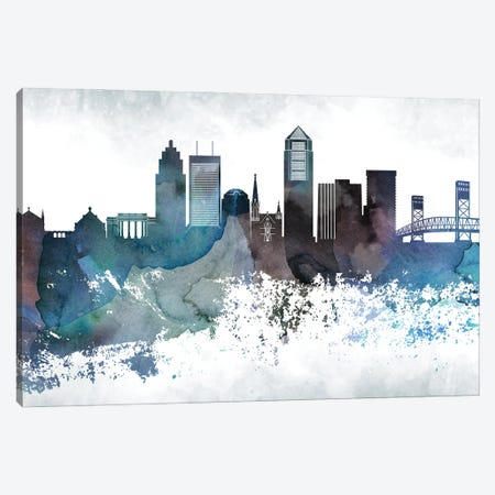 Jacksonville Bluish Skylines Canvas Print #WDA178} by WallDecorAddict Art Print