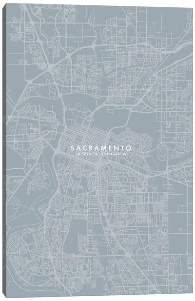 Sacramento City Map Grey Blue Style Canvas Art Print