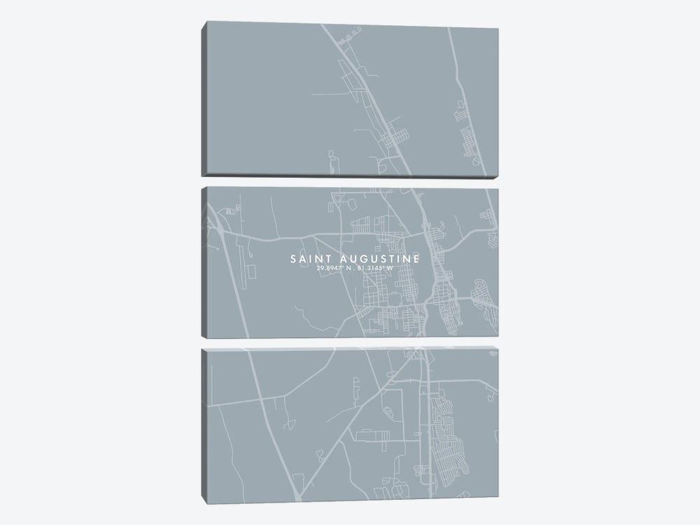 Saint Augustine City Map Grey Blue Style by WallDecorAddict 3-piece Canvas Print