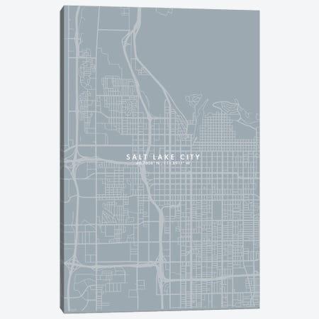 Salt Lake City Map Grey Blue Style Canvas Print #WDA1795} by WallDecorAddict Canvas Art Print