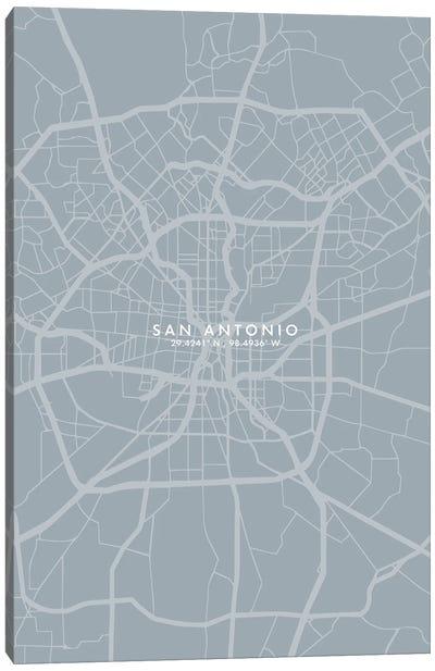 San Antonio City Map Grey Blue Style Canvas Art Print