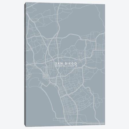 San Diego City Map Grey Blue Style Canvas Print #WDA1798} by WallDecorAddict Canvas Artwork