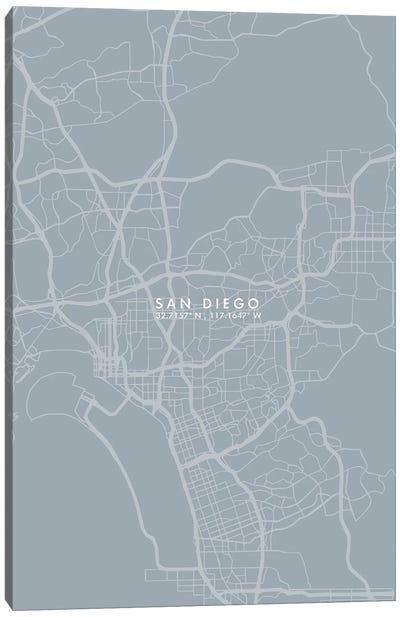 San Diego City Map Grey Blue Style Canvas Art Print