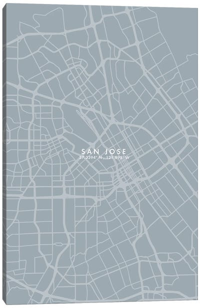 San Jose City Map Grey Blue Style Canvas Art Print