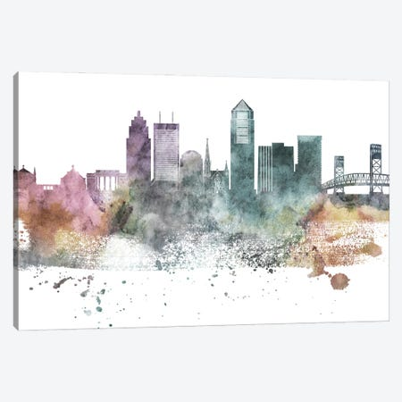 Jacksonville Pastel Skylines Canvas Print #WDA179} by WallDecorAddict Canvas Art Print