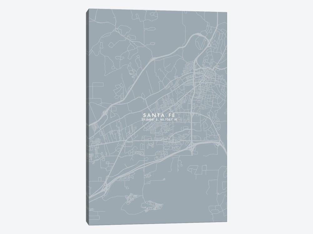 Santa Fe, Argentina City Map Grey Blue Style by WallDecorAddict 1-piece Canvas Art