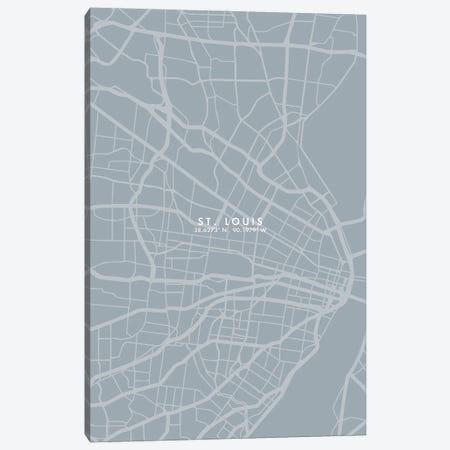 Saint Louis City Map Grey Blue Style Canvas Print #WDA1807} by WallDecorAddict Canvas Art Print