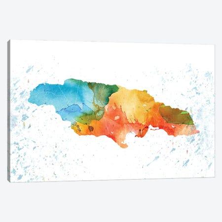 Jamaica Colorful Map Canvas Print #WDA180} by WallDecorAddict Canvas Art
