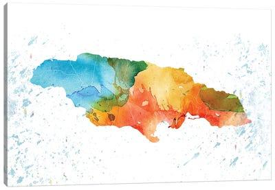 Jamaica Colorful Map Canvas Art Print