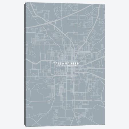 Tallahassee, Florida City Map Grey Blue Style Canvas Print #WDA1811} by WallDecorAddict Canvas Art Print