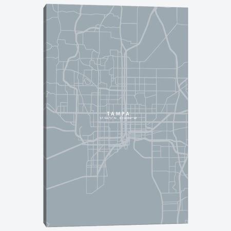 Tampa City Map Grey Blue Style Canvas Print #WDA1812} by WallDecorAddict Canvas Art Print