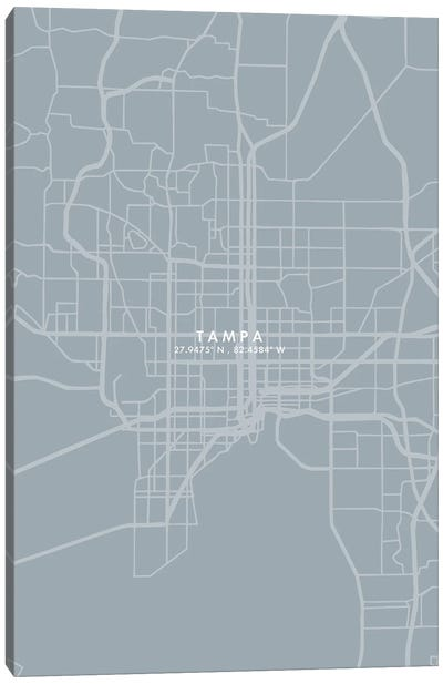 Tampa City Map Grey Blue Style Canvas Art Print