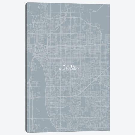 Tulsa City Map Grey Blue Style Canvas Print #WDA1814} by WallDecorAddict Canvas Artwork