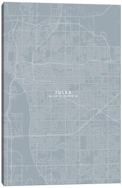 Tulsa City Map Grey Blue Style Canvas Art Print