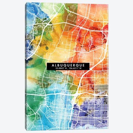Albuquerque City Map Colorful Watercolor Style Canvas Print #WDA1817} by WallDecorAddict Canvas Wall Art