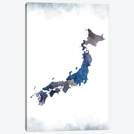 Japan Bluish Map Canvas Print #WDA181} by WallDecorAddict Canvas Artwork