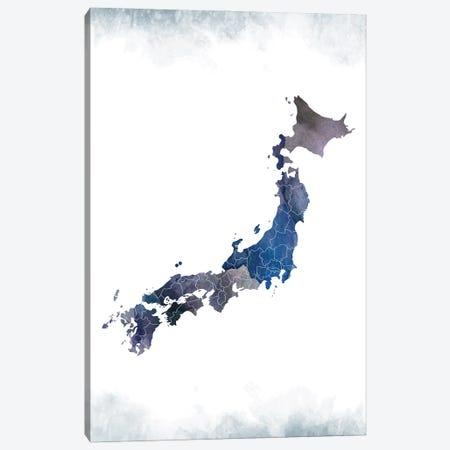 Japan Bluish Map Canvas Print #WDA181} by WallDecorAddict Canvas Artwork