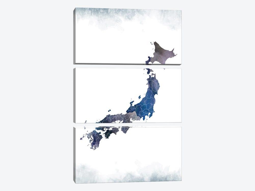 Japan Bluish Map by WallDecorAddict 3-piece Canvas Print