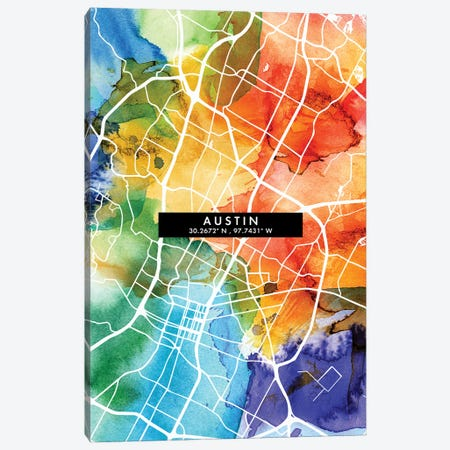 Austin City Map Colorful Watercolor Style Canvas Print #WDA1823} by WallDecorAddict Canvas Art