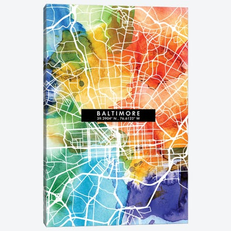 Baltimore City Map Colorful Watercolor Style Canvas Print #WDA1825} by WallDecorAddict Canvas Print