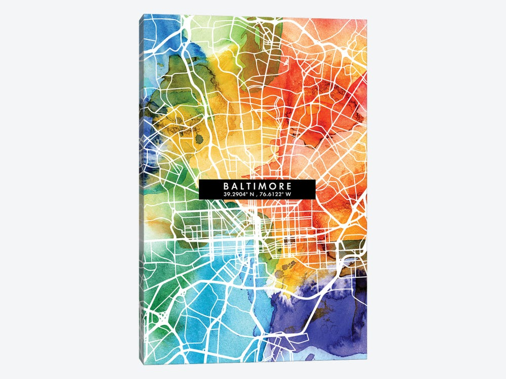 Baltimore City Map Colorful Watercolor Style by WallDecorAddict 1-piece Canvas Artwork