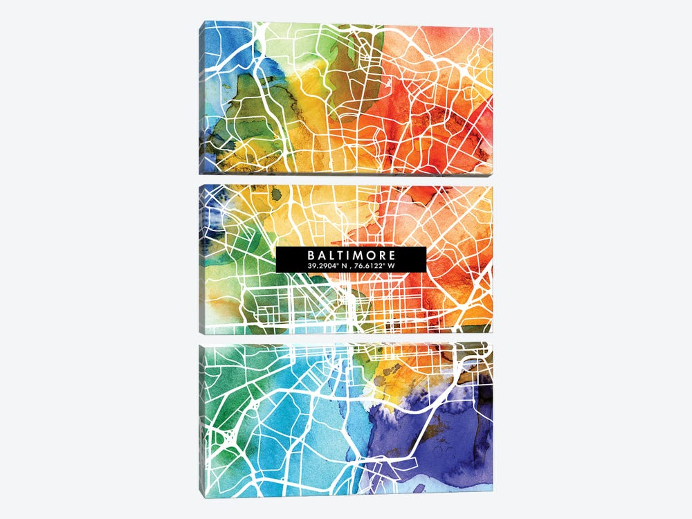 Baltimore City Map Colorful Watercolor Style by WallDecorAddict 3-piece Canvas Art