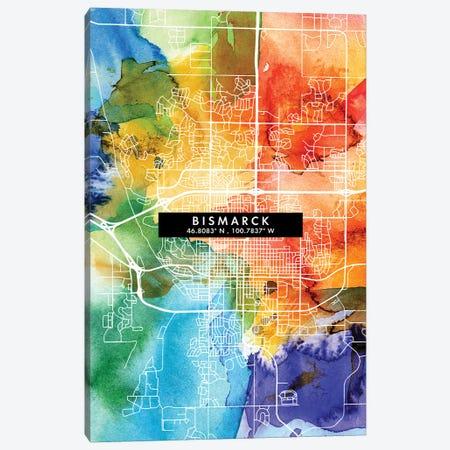 Bismarck, North Dakota City Map Colorful Watercolor Style Canvas Print #WDA1828} by WallDecorAddict Canvas Art